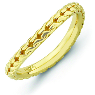 Sterling Silver Stackable Woven Gold-plated Wave Ring