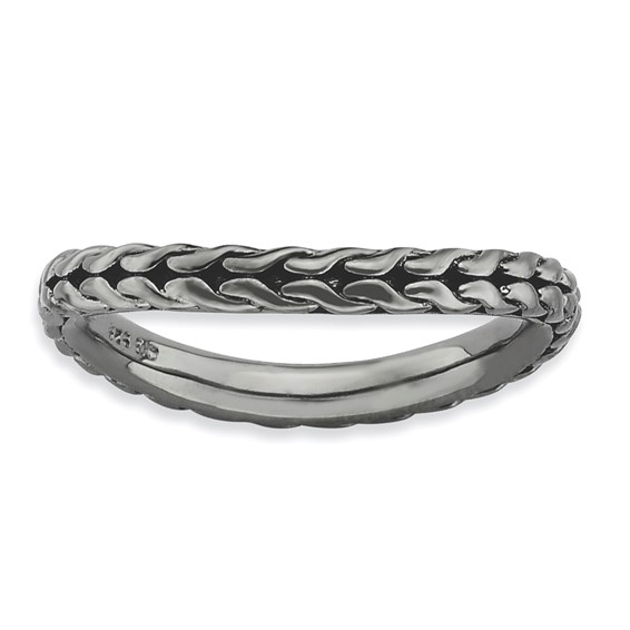 Sterling Silver Stackable Woven Black-plated Wave Ring