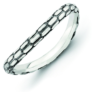 Sterling Silver Stackable Expressions Antiqued Wave Ring