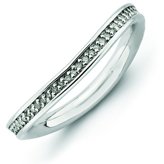 Sterling Silver 1/5ct Diamond Wave Ring