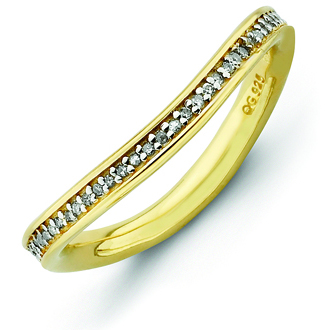Sterling Silver 1/5ct Diamond Gold-plated Wave Ring