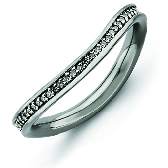 Sterling Silver 1/5ct Diamond Black-plated Wave Ring