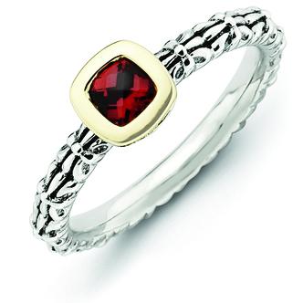 Sterling Silver & 14k Checker-cut Garnet Antiqued Ring