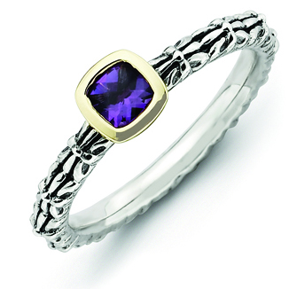 Sterling Silver & 14kt Gold Checker-cut Amethyst Antiqued Ring