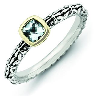 Sterling Silver & 14k Checker-cut Aquamarine Antiqued Ring