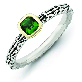 Sterling Silver & 14kt Gold Checker-cut Created Emerald Antiqued Ring