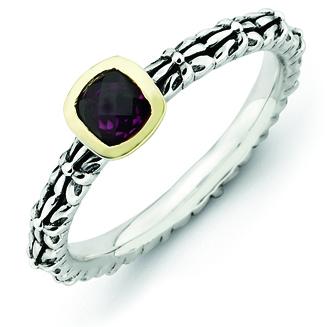 Sterling Silver & 14k Checker-cut Rhodolite Garnet Antiqued Ring