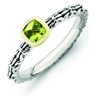 Sterling Silver & 14kt Gold Checkerboard Peridot Antiqued Ring