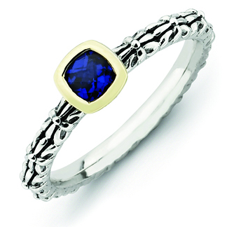 Sterling Silver & 14k Checker-cut Created Sapphire Antiqued Ring