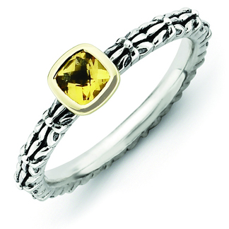 Sterling Silver & 14kt Gold Checkerboard Citrine Antiqued Ring