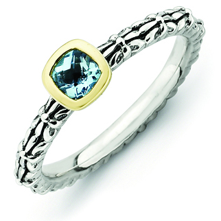 Sterling Silver & 14k Stackable Checker-cut Blue Topaz Antiqued Ring