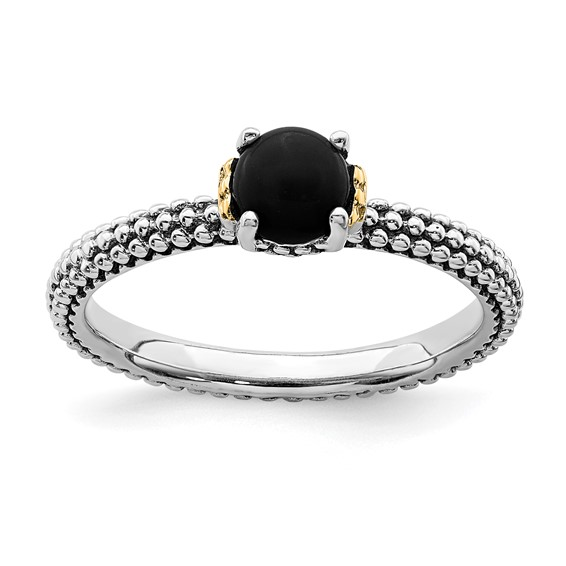 Sterling Silver & 14k Stackable Onyx Antiqued Ring