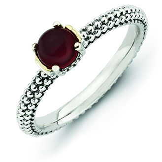 Sterling Silver & 14k Stackable Red Agate Antiqued Ring
