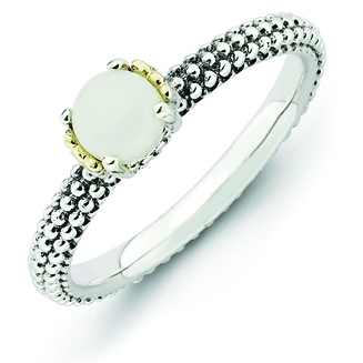 Sterling Silver & 14kt Gold Stackable White Agate Antiqued Ring