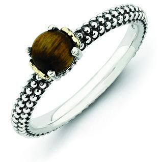 Sterling Silver & 14k Stackable Tiger's Eye Antiqued Ring