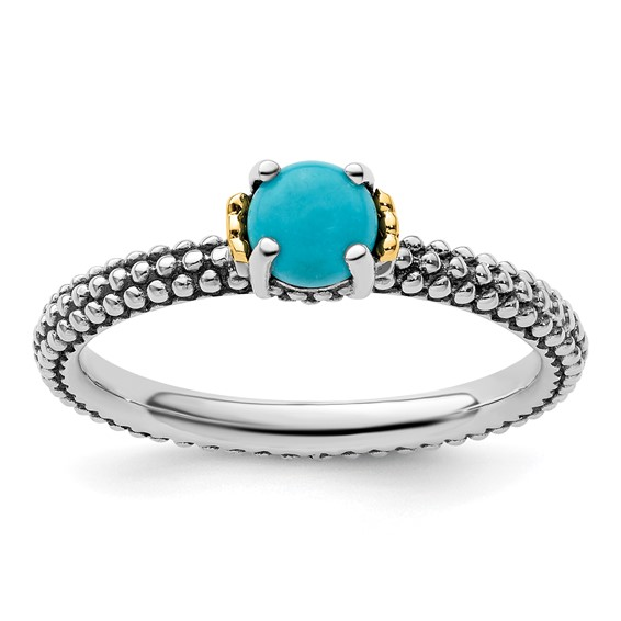 Sterling Silver & 14k Stackable Turquoise Antiqued Ring