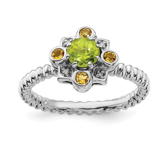 Sterling Silver Peridot Citrine Diamond Ring