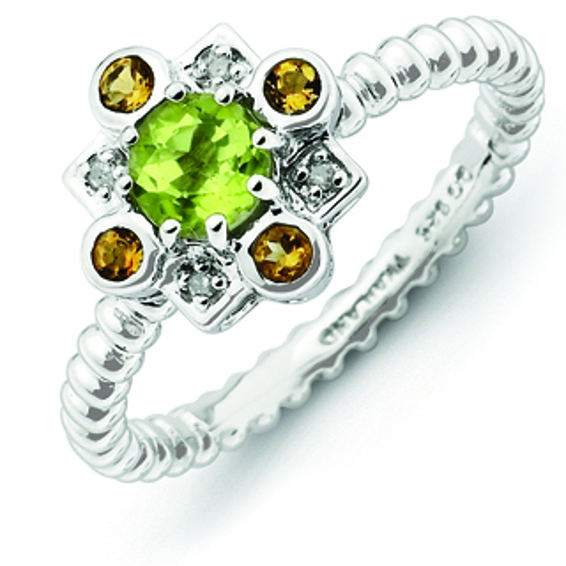 Sterling Silver Peridot Citrine Diamond Ring