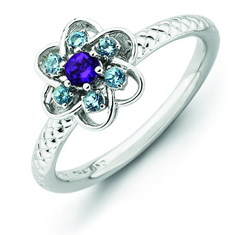 Sterling Silver Amethyst Blue Topaz Stackable Ring