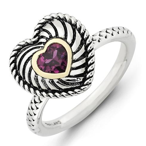 Sterling Silver 14kt Gold Stackable Rhodolite Garnet Heart Ring