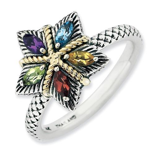 Sterling Silver & 14k Stackable Gemstone Antiqued Flower Ring
