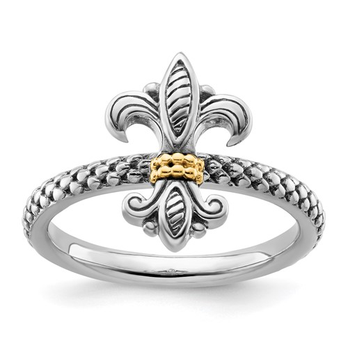 Sterling Silver & 14kt Gold Fleur de Lis Antiqued Ring