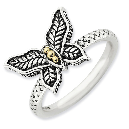 Sterling Silver & 14k Butterfly Antiqued Ring