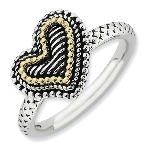 Sterling Silver & 14kt Gold Heart Antiqued Ring