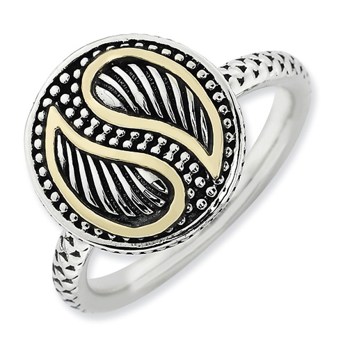 Sterling Silver & 14kt Gold Yin Yang Stackable Ring