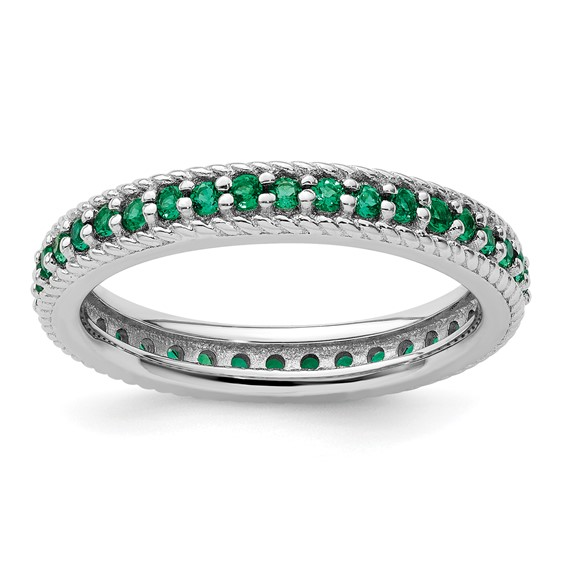 Sterling Silver Stackable 1/2 ct Created Emerald Eternity Ring