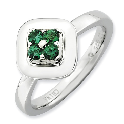 Sterling Silver Stackable Expressions Created Emerald Cluster Ring