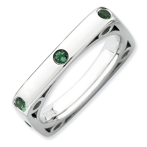 Sterling Silver Stackable Expressions Created Emerald Square Ring