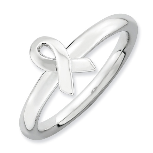 Sterling Silver Stackable Expressions Awareness Ribbon Ring