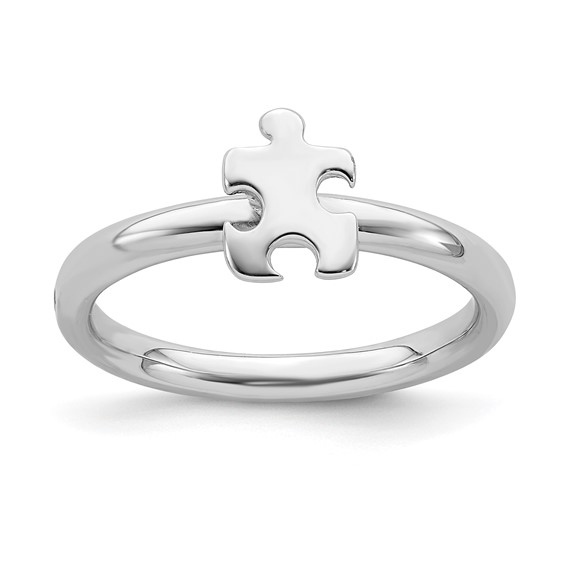 Sterling Silver Autism Awareness Puzzle Piece Ring