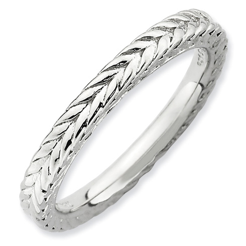 Sterling Silver 2.5mm Stackable Rhodium-plated Domed Ring
