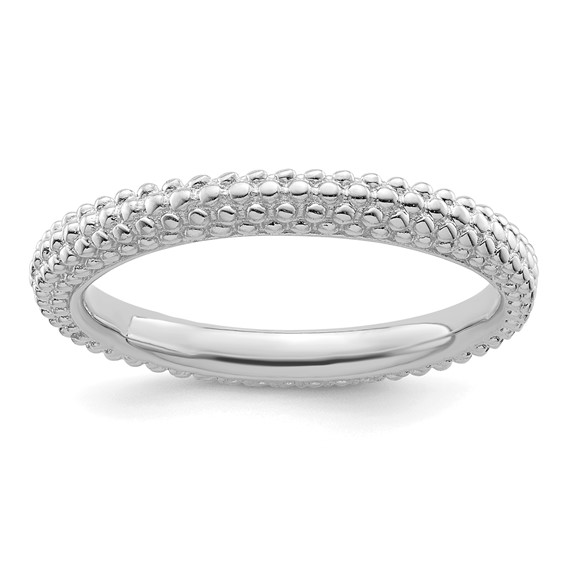 Sterling Silver Stackable Expressions Mini Beaded Ring