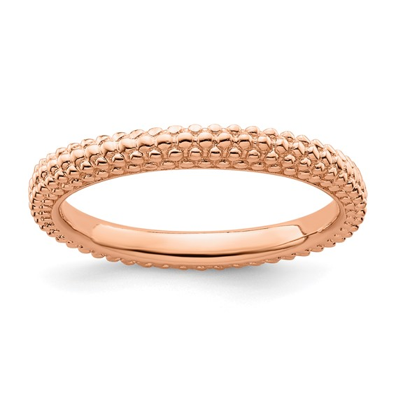 18k Rose Gold-plated Sterling Silver Stackable Expressions Beaded Ring