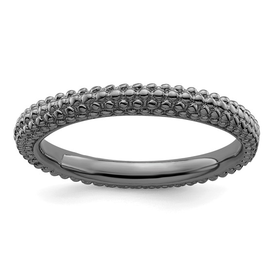 Black-plated Sterling Silver Stackable Expressions Beaded Ring