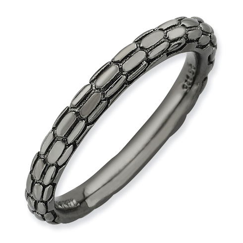 Black-plated Sterling Silver Stackable Expressions Cobblestone Ring