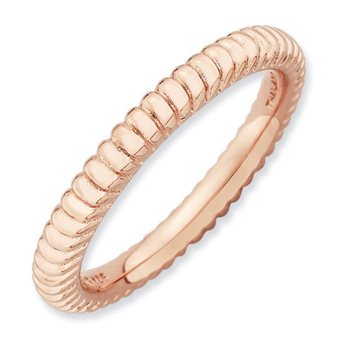 Pink Gold-plated Sterling Silver Stackable Expressions Fluted Ring