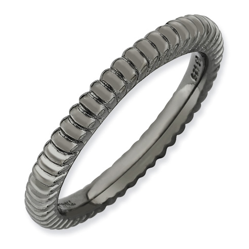 Black-plated Sterling Silver Stackable Expressions Fluted Ring