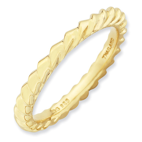 Gold-plated Sterling Silver Stackable Ring with Ribbon Texture