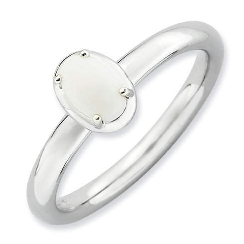 Sterling Silver Stackable Expressions White Agate Ring