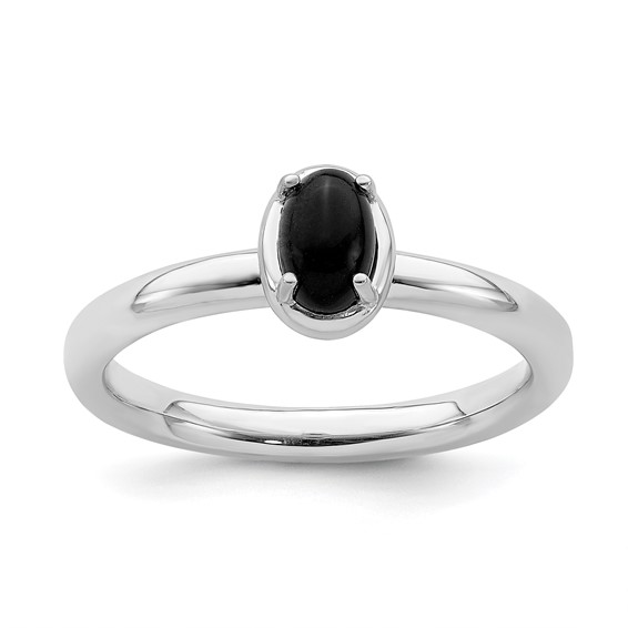 Sterling Silver Stackable Expressions Oval Onyx Ring