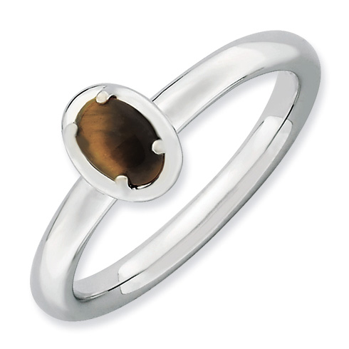 Sterling Silver Stackable Expressions Oval Tiger's Eye Ring