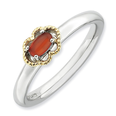 Sterling Silver 14k Stackable Expressions Red Agate Ring