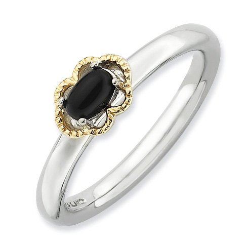 Sterling Silver 14kt Gold Stackable Expressions Onyx Ring