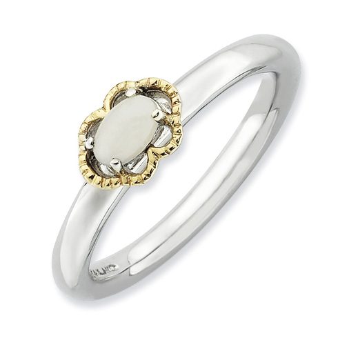 Sterling Silver 14kt Gold Stackable Expressions White Agate Ring