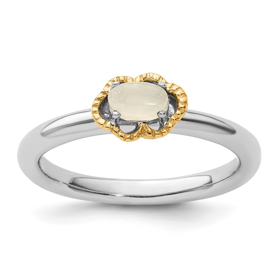Sterling Silver 14k Stackable Expressions Moonstone Ring
