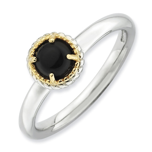 Sterling Silver 14k Stackable Expressions Onyx Ring
